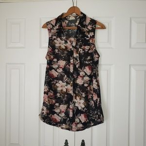 Black and Floral collared shirt